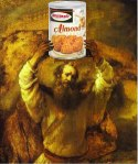 Our all-time favorite Pesach illustration: Moses (by Rembrandt van Rijn) holds up a can of macaroons (by Manischewitz) in this picture by Mike Licht (via our friends @InterfaithFamily.com)